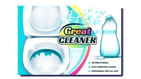 Great Cleaner Creative Advertising Banner Vector. Blank Plastic Bottle With Antibacterial Liquid Cleaner And Bubbles For Disinfection Toilet. Empty Package Concept Mockup Realistic 3d Illustration