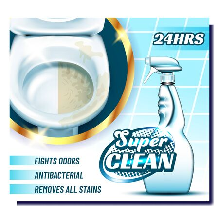 Super Clean Creative Advertising Poster Vector. Blank Plastic Spray Bottle With Antibacterial Liquid For Clean Toilet. Empty Clear Package. Container Concept Template Realistic 3d Illustration