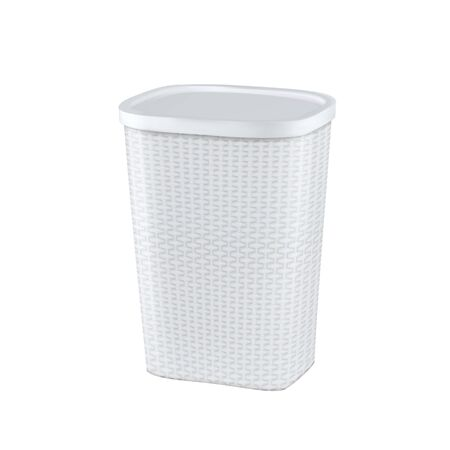 Laundry Basket For Storage Dirty Clothes Vector. Empty Blank Plastic Wicker Basket For Storaging Fabric Clothing. Container Box For Holding And Transporting Garment Layout Realistic 3d Illustration