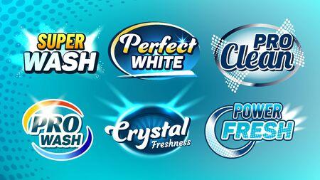 Lavage Cleaner Creative Company Logo Set Vector. Super Wash et Perfect White, Pro Clean, Crystal Freshness et Power Fresh Collection Logo différent. Illustrations de modèle de concept de logotypes Logo