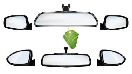 Car Rearview Mirrors With Air Freshener Set Vector. Collection Of Inside And Outdoor Rear-view Mirrors With Flavor Accessory. Automobile Equipment For Safety Parking Template Realistic 3d Illustrations