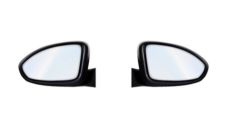 Left And Right Outside Rearview Car Mirrors Vector. Stylish Rear-view Mirrors. Automobile Accessory For Control Traffic Behind Vehicle. Transport Safe Detail Layout Realistic 3d Illustration