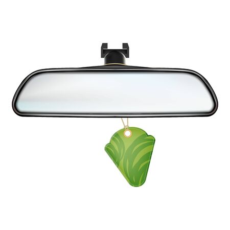 Car Rearview Mirror With Air Freshener Vector. Rear-view Mirror With Hanging Aromatic Flavor Perfume Accessory. Automobile Equipment For Safety Parking Template Realistic 3d Illustration