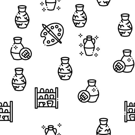 Pottery And Ceramics Seamless Pattern Vector Thin Line. Illustrations