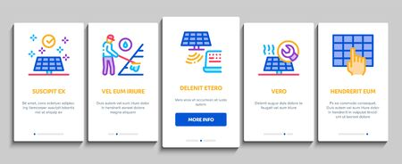 Solar Energy Technicians Onboarding Mobile App Page Screen Vector. Solar Energy Battery And Panel, Alternative Power Technology, Installation And Repair Color Contour Illustrations