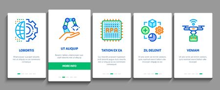 Rpa Cyber Technology Onboarding Mobile App Page Screen Vector. Rpa Robotic Process Automation, Drone Delivering And Processor Chip, Robot Arm And Hand Color Contour Illustrations