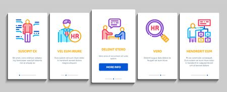 Hr Human Resources Onboarding Mobile App Page Screen Vector. Hr Management And Research, Strategy And Interview, Brainstorm And Disscusion Color Contour Illustrations  イラスト・ベクター素材
