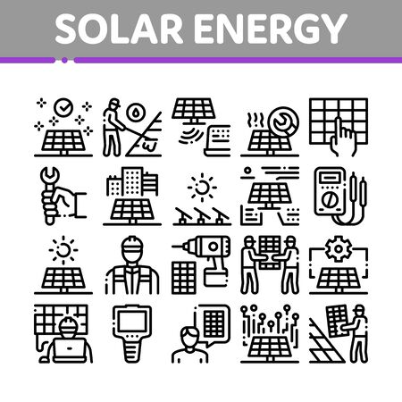Solar Energy Technicians Collection Icons Set Vector. Solar Energy Battery And Panel, Alternative Power Technology, Installation And Repair Concept Linear Pictograms. Monochrome Contour Illustrations