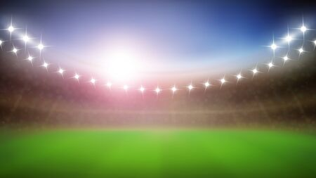 Baseball Stadium With Glow Lamps In Night Vector. Blurred Modern Stadium With Green Grass And Illuminate Lights. Sportive Field Construction For Championship Event Layout Realistic 3d Illustration Vetores