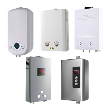 Water Heater House System Collection Set Vector. Blank Different Style Metallic Automatic Smart Gas Heater With Temperature Control And Display. Air Climate Equipment Mockup Realistic 3d Illustrations