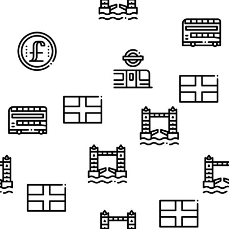 England United Kingdom Seamless Pattern Vector Thin Line. Illustrations