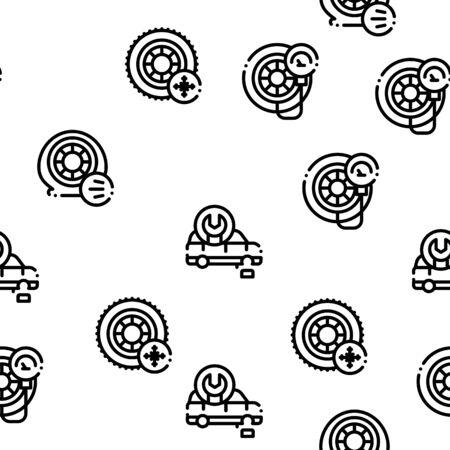 Reifenmontage Service nahtlose Muster Vektor dünne Linie. Illustrationen