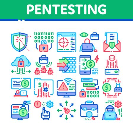 Pentesting Software Collection Icons Set Vector. Pentesting Programming Code, Cybersecurity Shield, Web Site Penetration Test Concept Linear Pictograms. Color Illustrations