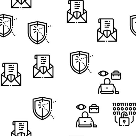 Pentesting Software Seamless Pattern Vector Thin Line. Illustrations