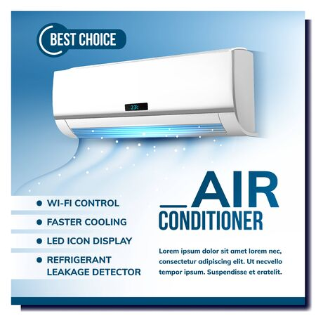 Air Conditioner System Advertising Poster Vector. Conditioner With Wifi Control, Faster Cooling, Led Icon Display And Refrigerant Leakage Detector. Climate Device Template Realistic 3d Illustration