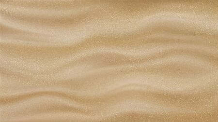 Desert Sand With Waves Pattern Background Vector. Rough Grainy Sand Quartz Material. Silica Gravel Nature Sandy Wilderness Landscape Or Beach Design Mockup Realistic 3d Illustration