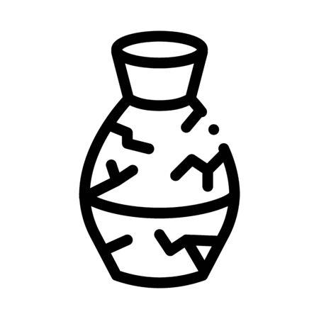 broken clay vase icon vector. broken clay vase sign. isolated contour symbol illustration