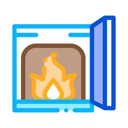 open fire in stove icon vector. open fire in stove sign. color contour symbol illustration