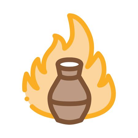clay vase on fire icon vector. clay vase on fire sign. color contour symbol illustration