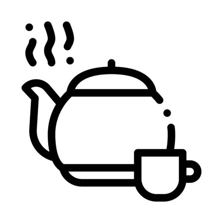 tea teapot icon vector. tea teapot sign. isolated contour symbol illustration