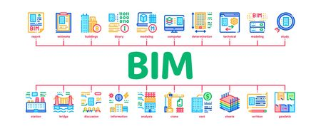 Bim Building Information Modeling Minimal Infographic Web Banner Vector. Building Document And Plan, Research And Build Construction, Bridge And Apartment Illustrations