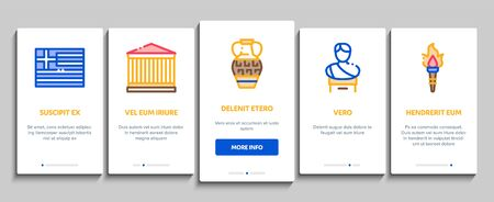 Greece Country History Onboarding Mobile App Page Screen Vector. Greece Flag And Antique Amphora, Building And Boat, Wine Barrel And Grape Color Contour Illustrations