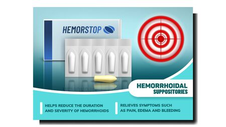 Hemorrhoidal Suppositories Promo Banner Vector. Medical Suppositories Pill, Blister Strip And Package. Hemorstop Medicaments And Aim Target Circle Pain Localization Template Realistic 3d Illustration