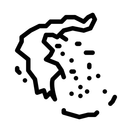 greece on the map icon vector. greece on the map sign. isolated contour symbol illustration Ilustração