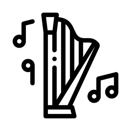 musical harp icon vector. musical harp sign. isolated contour symbol illustration