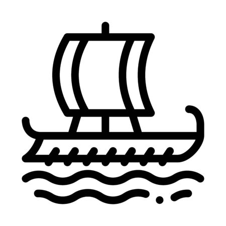 greek merchant ship icon vector. greek merchant ship sign. isolated contour symbol illustration