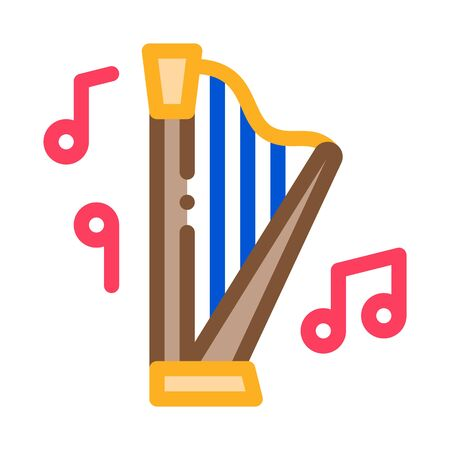 musical harp icon vector. musical harp sign. color symbol illustration
