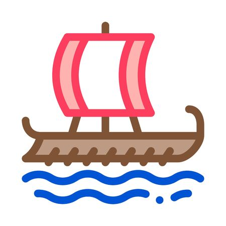 greek merchant ship icon vector. greek merchant ship sign. color symbol illustration
