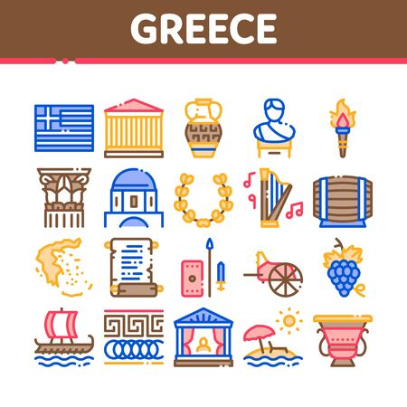 Greece Country History Collection Icons Set Vector. Greece Flag And Antique Amphora, Building And Boat, Wine Barrel And Grape Concept Linear Pictograms. Color Illustrations Ilustração