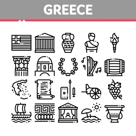 Greece Country History Collection Icons Set Vector. Greece Flag And Antique Amphora, Building And Boat, Wine Barrel And Grape Concept Linear Pictograms. Monochrome Contour Illustrations