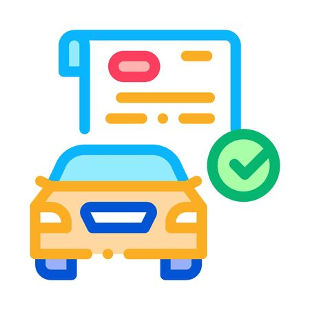 checked documents for car icon vector. checked documents for car sign. color symbol illustration