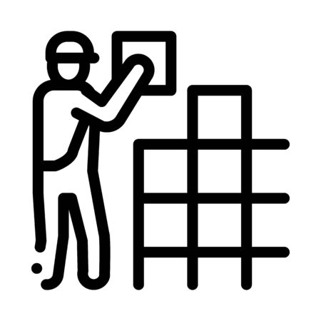 tile stacker icon vector. tile stacker sign. isolated contour symbol illustration