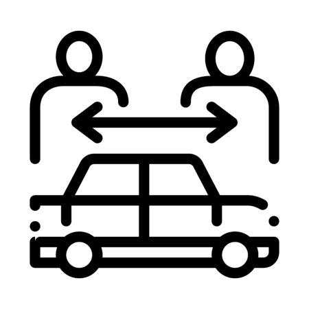 two buyers per car icon vector. two buyers per car sign. isolated contour symbol illustration