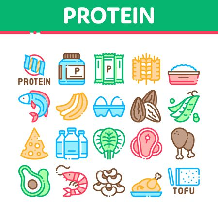 Protein Food Nutrition Collection Icons Set Vector. Bottle And Package With Protein, Fish And Chicken Meat, Milk And Cheese Concept Linear Pictograms. Color Illustrations
