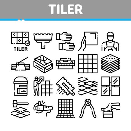 Tiler Work Equipment Collection Icons Set Vector. Tiler Rectangular Notched Trowel And Electrical Tile Cutter, Level Tool And Grinder Concept Linear Pictograms. Monochrome Contour Illustrations