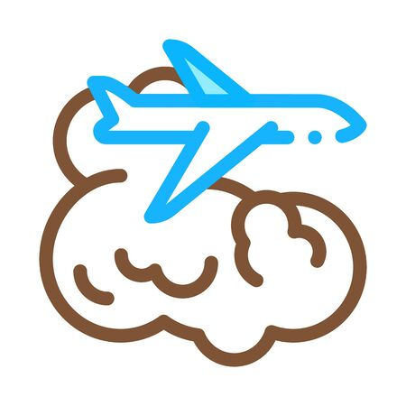 plane flies in clouds icon vector. plane flies in clouds sign. color symbol illustration 向量圖像