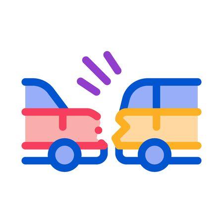 minimum dangerous distance between cars icon vector. minimum dangerous distance between cars sign. color symbol illustration 向量圖像