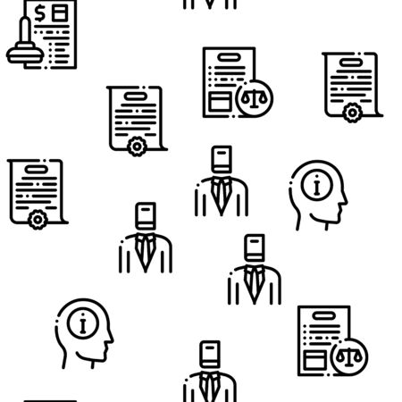 Notary Service Agency Seamless Pattern Vector Thin Line. Illustrations