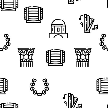 Greece Country History Seamless Pattern Vector Thin Line. Illustrations Ilustração