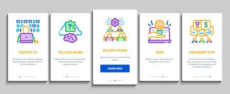 Hackathon Development Onboarding Mobile App Page Screen Vector. Hackathon Business, Developer Coding And Brainstorm, Meeting And Idea Color Contour Illustrations