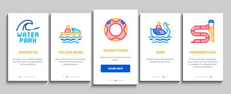 Water Park Attraction Onboarding Mobile App Page Screen Vector. Swimming Wear And Equipment, Life Jacket And Lifebuoy, Boat And Water Park Pool Color Contour Illustrations Illustration