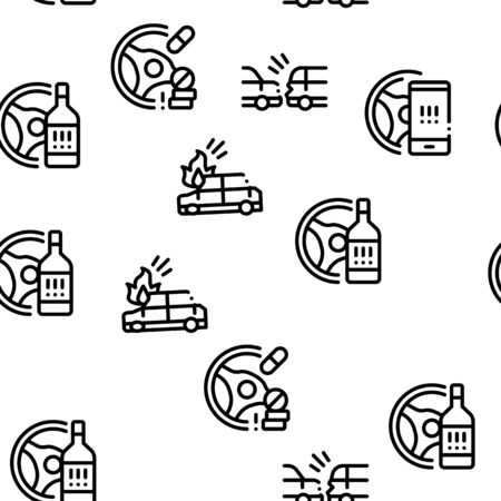 Car Crash Accident Seamless Pattern Vector Thin Line. Illustrations
