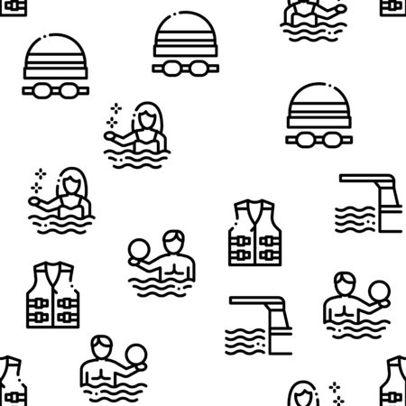 Water Park Attraction Seamless Pattern Vector Thin Line. Illustrations