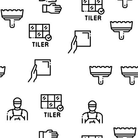 Tiler Work Equipment Seamless Pattern Vector Thin Line. Illustrations