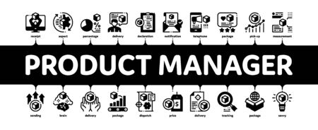 Product Manager Work Minimal Infographic Web Banner Vector. Product Manager Business Idea And Price, Web Site And Research, Checklist And Analysis Illustrations