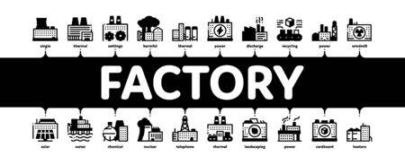 Factory Industrial Minimal Infographic Web Banner Vector. Factory Building, Oil And Chemical Plant, Energy And Solar Electricity Manufacturing Illustrations